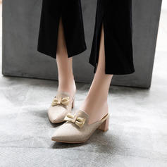 Women's Leatherette Chunky Heel Closed Toe Slippers With Bowknot Sequin shoes