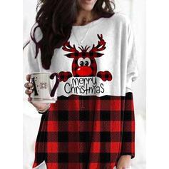 Друк Колірний блок Сітка Малюнок Кишені Кругла шия Довгі рукави Різдвяні светри
