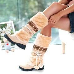 Women's Suede Low Heel Mid-Calf Boots Snow Boots With Imitation Pearl shoes