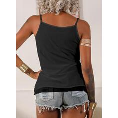 Δαντέλα Egyszínű Σπαγγέτι Strap Αμάνικο Μπλουζάκια