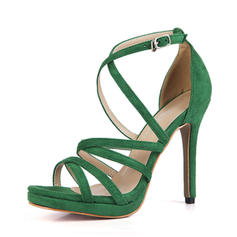 Femmes Suède Talon stiletto Sandales Escarpins À bout ouvert avec Boucle chaussures
