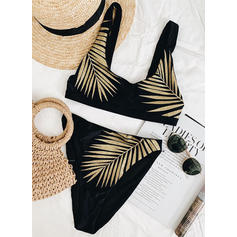 Leaves Print Strap Sexy Fashionable Bikinis Swimsuits