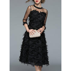Solid 3/4 Sleeves A-line Midi Vintage/Little Black/Party/Elegant Dresses