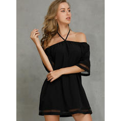 Solide Cold Shoulder Mouw Shift Boven de knie Casual Jurken