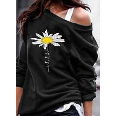 Drucken Blumen One Shoulder Lange Ärmel Pullover