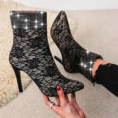 Жіночі ПУ Шпилька Бокові черевики з Блискітка Заклепка Блискавка взуття