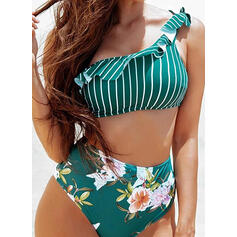 Floral Impresión Un hombro Fresco Bikinis Trajes de baño