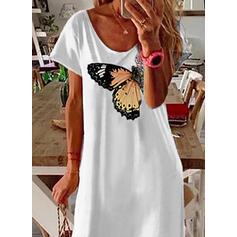 Animal Print Short Sleeves Shift T-shirt Casual Midi Dresses
