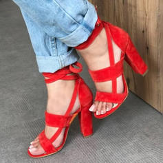 Women's Suede Chunky Heel Sandals Pumps With Lace-up Hollow-out shoes