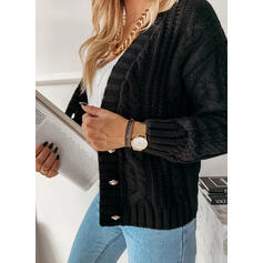 Solid Cable-knit V-Neck Casual Cardigan