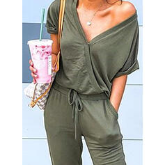 Solid V-Neck Short Sleeves Casual Jumpsuit