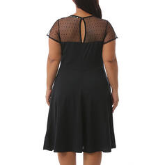 Solid Short Sleeves A-line Above Knee Little Black/Sexy/Party/Plus Size Dresses