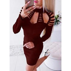 Jednolita Długie rękawy Bodycon Nad kolana Mała czarna/Seksowna/Casual Sukienki