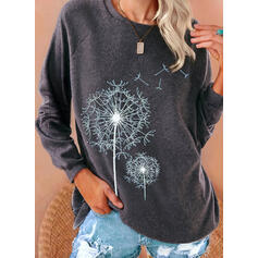 Print Dandelion Round Neck Long Sleeves Casual T-shirts