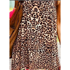 Floral/Leopard Sleeveless Shift Above Knee Casual/Vacation Slip Dresses