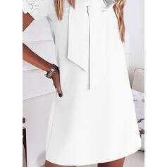 Pitsi/Solid Lyhyet hihat Väljä mekko Polven yläpuolelta Tyylikäs Tunika Mekot