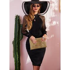 Solid Long Sleeves Bodycon Pencil Little Black/Party/Elegant Midi Dresses