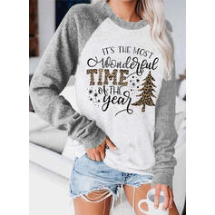 Print Color Block Leopard Figure Round Neck Long Sleeves Christmas Sweatshirt