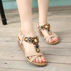 Women's Leatherette Wedge Heel Sandals Wedges Peep Toe Slingbacks With Rhinestone shoes
