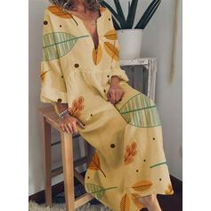 Εκτύπωση Μακρυμάνικο Αμάνικο Καθημερινό/Διακοπές Μάξι Сукні