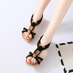 Femmes Tissu Talon plat Sandales chaussures