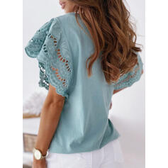 Lace Solid Round Neck Short Sleeves Flare Sleeve T-shirts