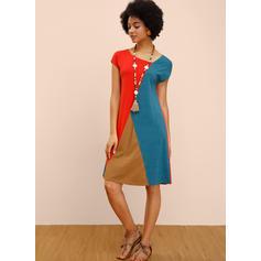 Color-block Short Sleeves Shift Knee Length Casual Dresses