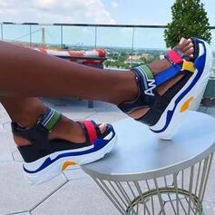 Donna Pelle microfibra Zeppe Sandalo Piattaforma Zeppe Punta aperta Tacchi con Cava-out Colore giuntura scarpe