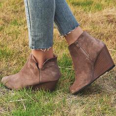 Donna PU Zeppe Stivali alla caviglia con Cerniera scarpe