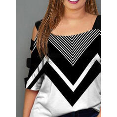 Color Block Cold Shoulder 1/2 Sleeves Casual Plus Size Blouses