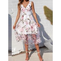 Print/Floral Sleeveless A-line Skater Casual/Elegant Midi Dresses