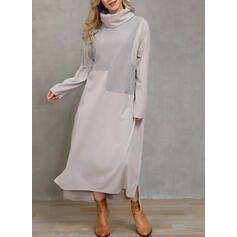 Solid Long Sleeves Shift Casual Maxi Dresses