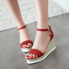 Women's Sparkling Glitter Wedge Heel Sandals Wedges Peep Toe With Buckle shoes