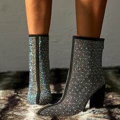 Women's Sparkling Glitter PU Chunky Heel Ankle Boots Mid-Calf Boots With Sparkling Glitter shoes