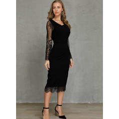 Lace/Solid Long Sleeves Bodycon Knee Length Little Black/Casual Dresses