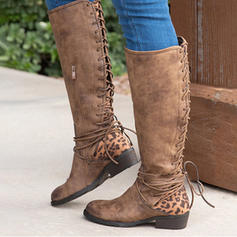 Women's PU Low Heel Boots Knee High Boots With Animal Print Lace-up shoes