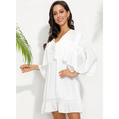 Solid 3/4 Sleeves Shift Above Knee Casual/Vacation Dresses