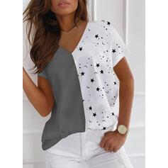 Blok Koloru Nadruk Dekolt w kształcie litery V Krótkie rękawy T-shirty