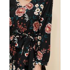 Print/Floral Long Sleeves A-line Midi Casual/Elegant Dresses