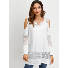 Lace Cold Shoulder Long Sleeves Casual Elegant Blouses