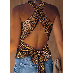 Leopard Strap Sleeveless Sexy Tank Tops