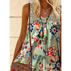 Floral Lace Print Round Neck Sleeveless Tank Tops