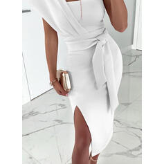 Solid Short Sleeves Sheath Party Midi Dresses