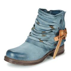 Frauen PU Niederiger Absatz Stiefel mit Reißverschluss Schuhe