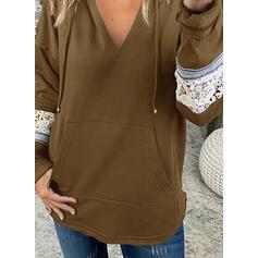Color Block Lace Long Sleeves Hoodie