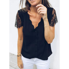 Einfarbig V-Ausschnitt Kurze Ärmel Mit Knöpfen Freizeit Elegant Blusen
