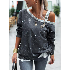 Paillettes One Shoulder Manches longues Sweat-shirts