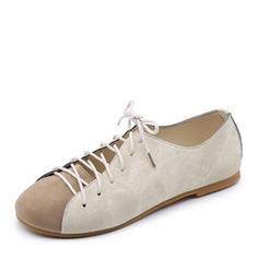 Femmes Toile Talon plat Chaussures plates Bout fermé avec Dentelle chaussures