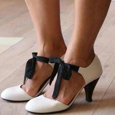 Femmes PU Talon stiletto Talon cône Escarpins Bout fermé avec Dentelle Ouvertes chaussures