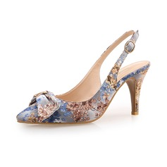 Women's Cloth Stiletto Heel Pumps Closed Toe With Bowknot shoes